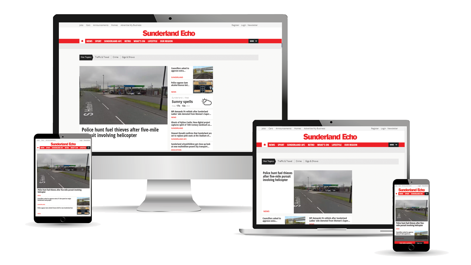 Advertise across desktop, tablet and mobile with the Sunderland Echo