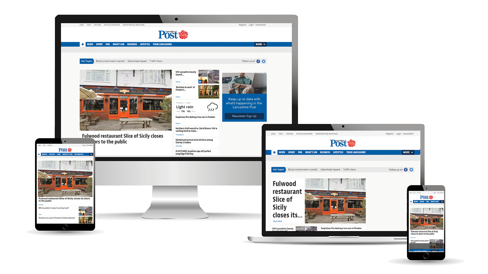 Advertise across desktop, tablet and mobile with the Lancashire Post